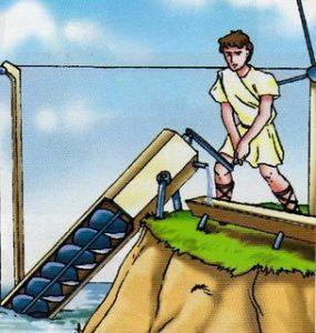 Espiral sin fin de Arquímedes. Primer invento Hidráulico